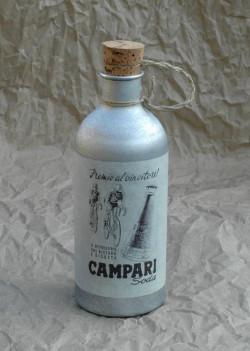 Bidon Campari en aluminium pour vélo ancien