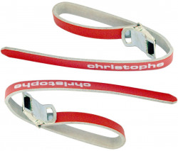 Christophe leather toe straps red
